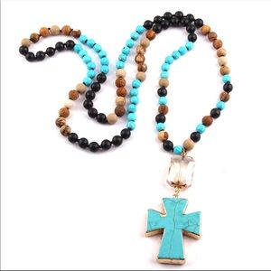 Jewelry - Handmade natural stone cross pendant necklace